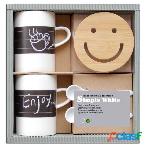 Wellindal Set regalo mesa pareja tazas de porcelana con