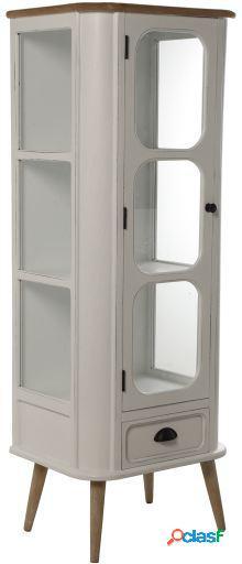 Wellindal Vitrina con 2 puerta y cajón madera