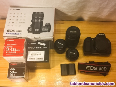 Canon 60 d + 3 objetivos + 2 baterias + cargador