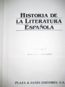 Historia de la literatura española 5 tomos