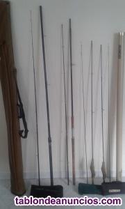 Vendo cañas de pesca de rio, maletín completos, plumas,