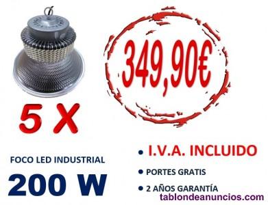 5 campanas led 200w luz fria