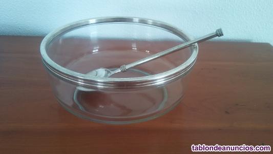 Fuente-ensaladera de cristal, con cuchara, de alpaca