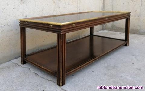 Mesa auxiliar madera y cristal 120x60cm