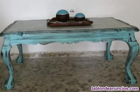 Mesa baja con marmol antigua restaurada