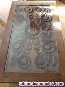 Mesa centro rigida pino americano y filigrana hecha a