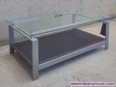 Mesa de centro cristal y cuero 100x60cm