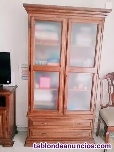 Muebles salón madera maciza pino color nogal