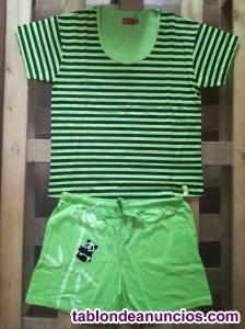 Pijama corto de verano verde hombre/ mujer