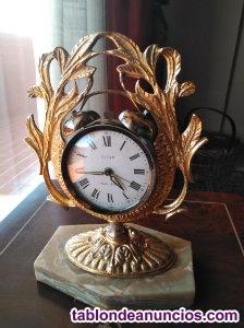 Reloj sobremesa de latón y bronce vintage