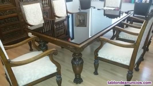 Sala de juntas: conjunto de mesa y sillas más 100 años