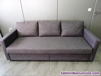 Sofá cama 3 plazas, gris oscuro