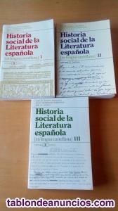 Libro:historia social de la literatura española(3 tomos)