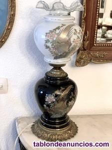 Lámpara de bronce y cerámica