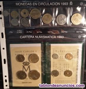 Vendo serie y cartera de monedas de españa de