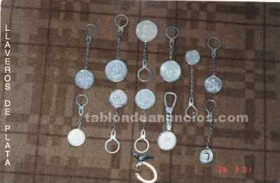 Colección de llaveros de monedas de plata