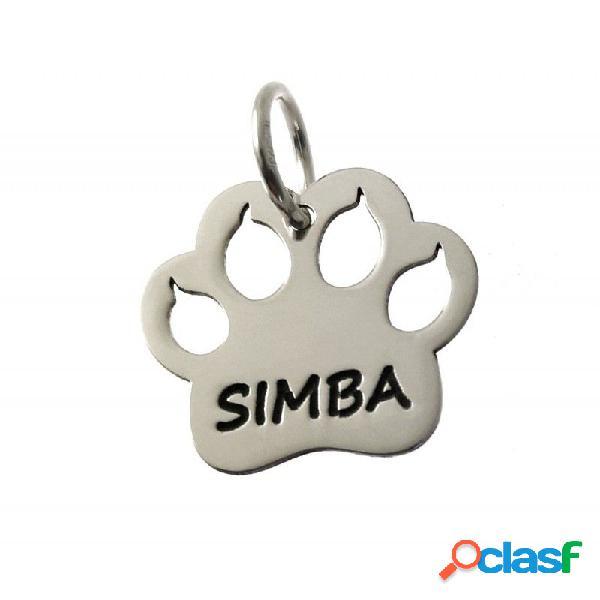 Colgante huella de gato de plata de ley personalizada con