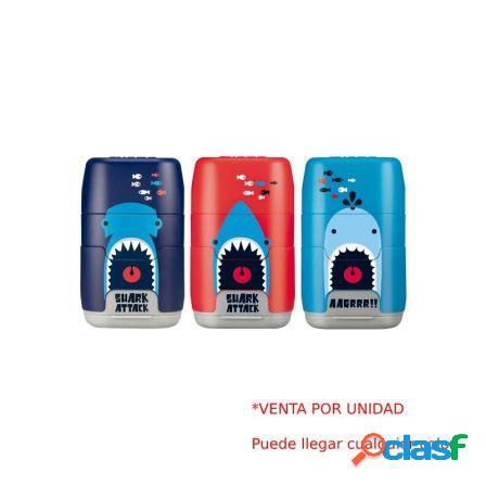 Combinacion de goma y sacapuntas milan compact shark attack