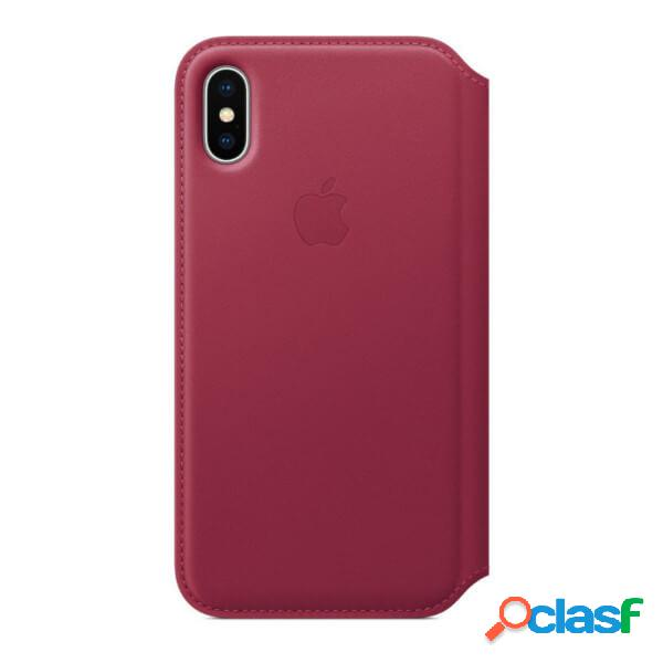 Funda leather folio morada para iphone x