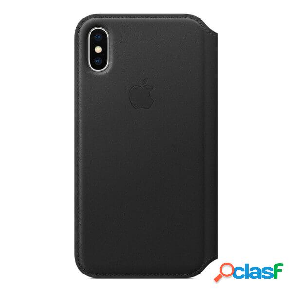 Funda leather folio negra para iphone x