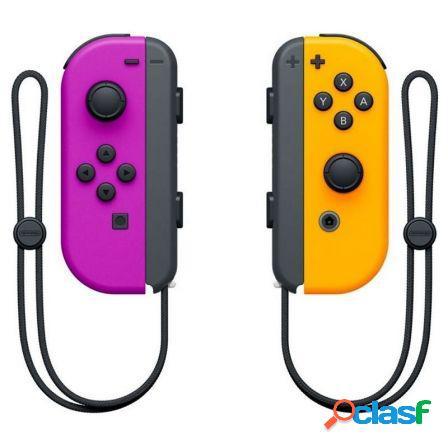 Mandos inalambricos nintendo switch joycon lila/naranja neon