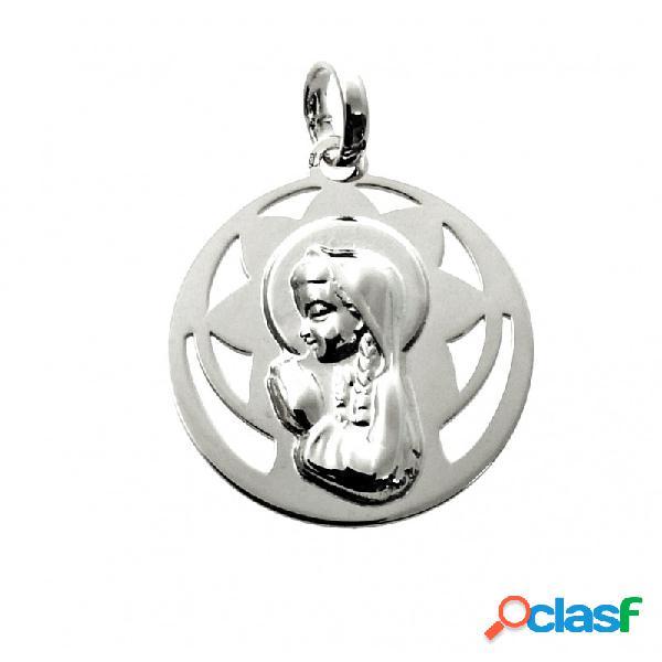 Medalla calada virgen niña de plata de ley 20 mm.