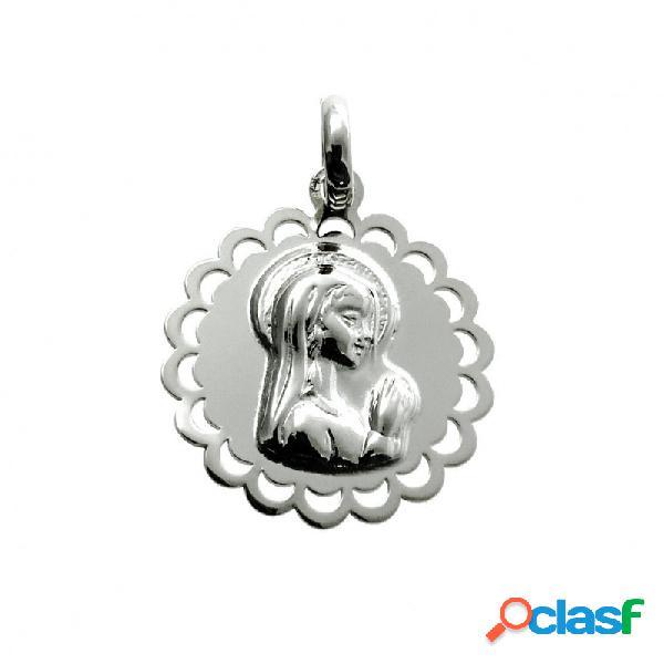 Medalla de plata de ley calada virgen niña 19 mm.