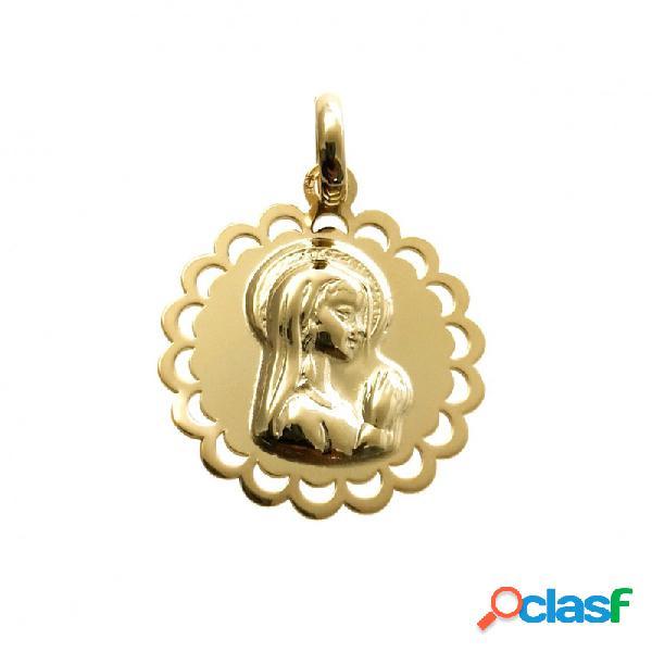 Medalla virgen niña en plata de ley chapada 19 mm.