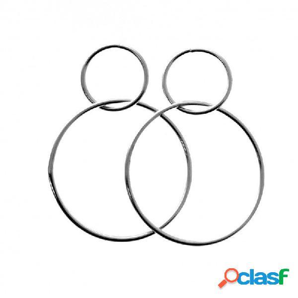 Pendientes doble aro karma de plata de ley 13 y 30 mm