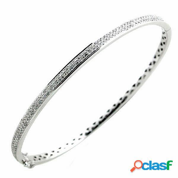 Brazalete oro blanco 18k 150 diamantes blancos y negros