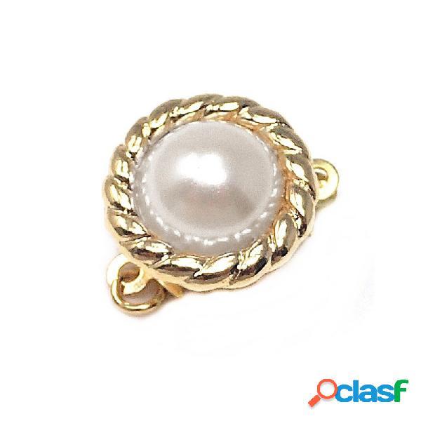 Broche collar metal dorado perla sintética labrado