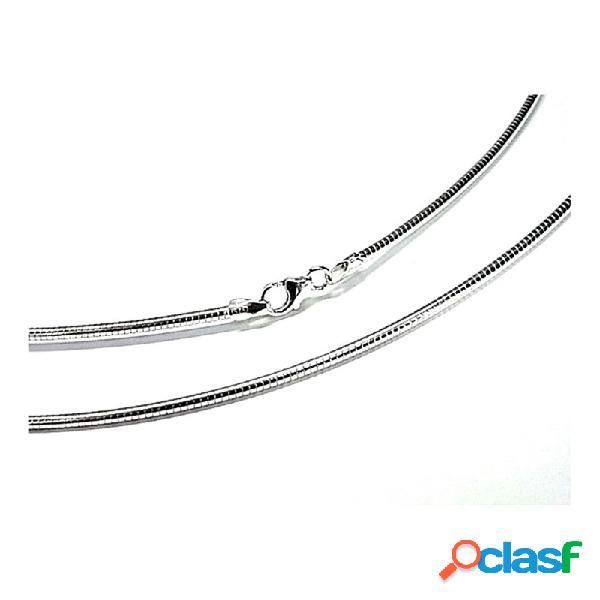 Cadena plata ley 925m lisa 45cm. omega 1.80