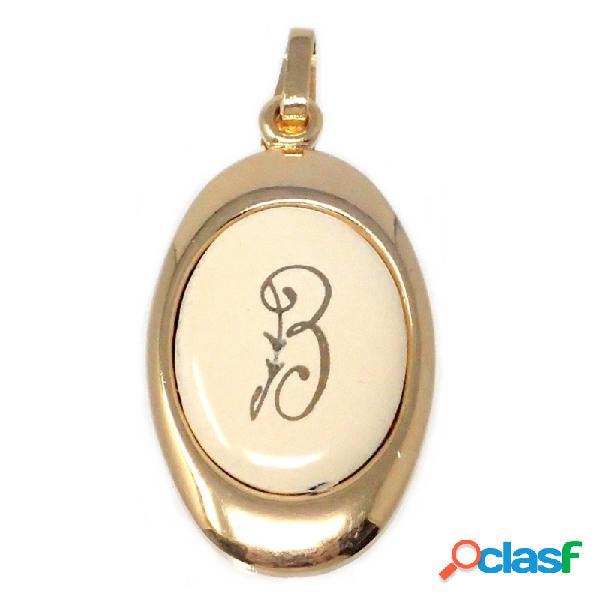 Colgante chapado oro letra B 25mm. porcelana oval