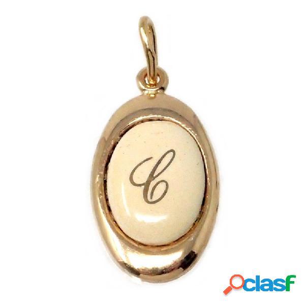 Colgante chapado oro letra C 17mm. porcelana oval