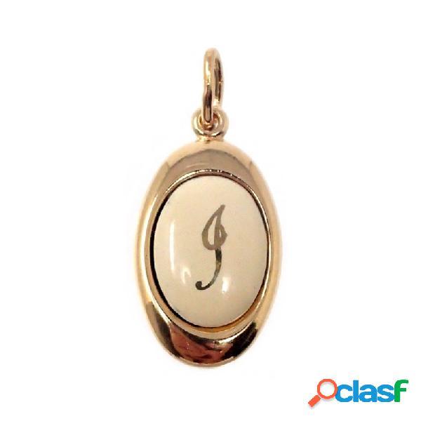 Colgante chapado oro letra I 17mm. porcelana oval