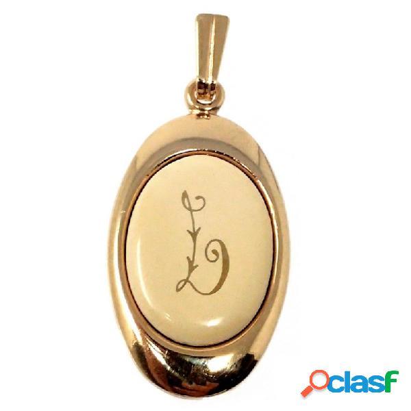 Colgante chapado oro letra L 25mm. porcelana oval