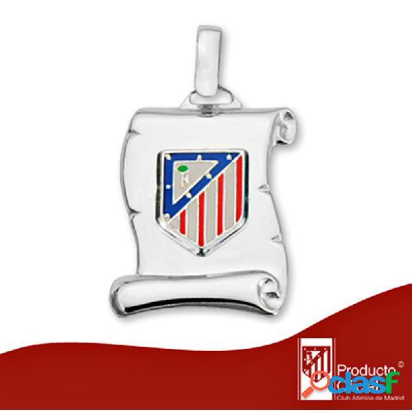Colgante pergamino escudo Atlético de plata de ley