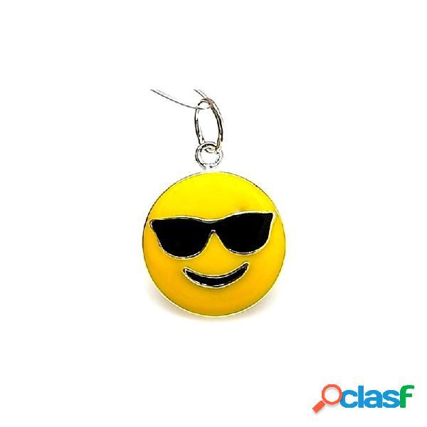 Colgante plata ley 925m 22mm. emoticono gafas sol esmaltado