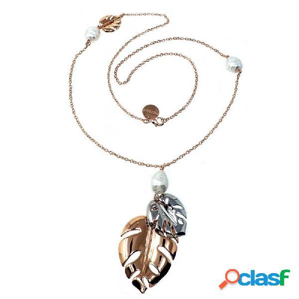 Collar Pertegaz bicolor Adán dos hojas perlas sintéticas