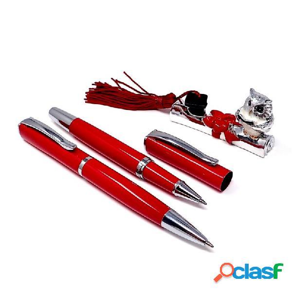 Estuche Búho bolígrafo y roller detalles metal tronco
