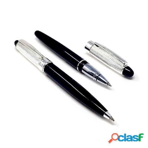 Estuche bolígrafo y roller cabezal metal plateado negro