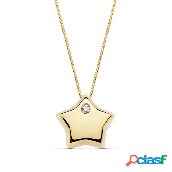 Gargantilla oro 18k cadena 42cm. colgante estrella circonita