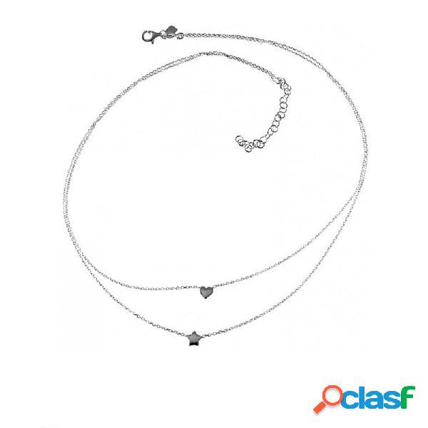 Gargantilla plata Ley 925m doble cadena 40cm y 41cm corazón