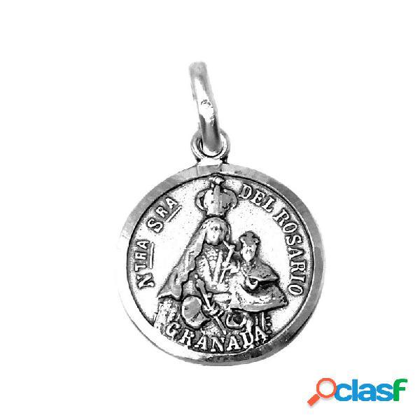 Medalla Plata Ley 925m Nuestra Señora Rosario Granada 18mm.