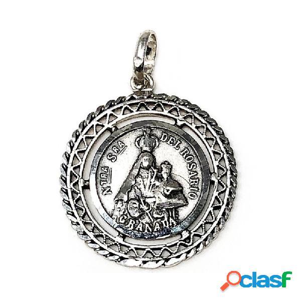 Medalla Plata Ley 925m Nuestra Señora Rosario Granada 26mm.