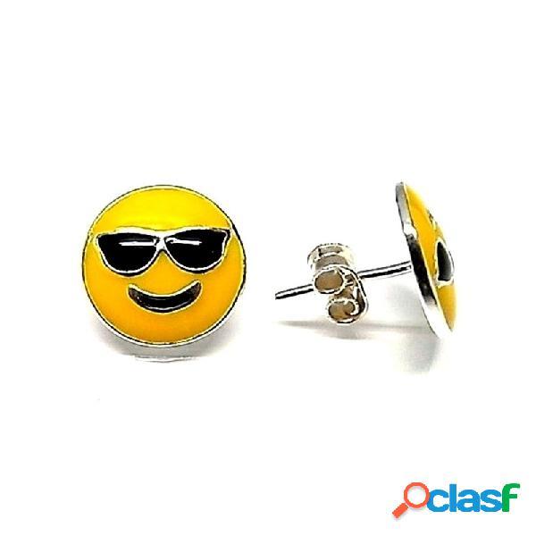 Pendiente plata ley 925m esmaltado 10mm. emoticono gafas sol