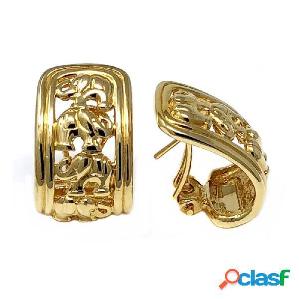 Pendientes bisutería metal dorados 25mm. calados elefantes
