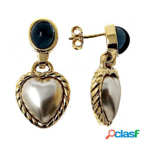 Pendientes metal largos dorados 26mm. perla forma corazón
