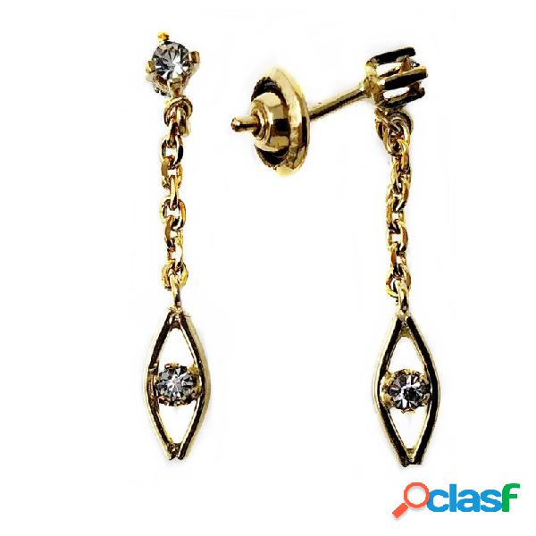 Pendientes metal largos dorados 27mm. piedra blanca cadena