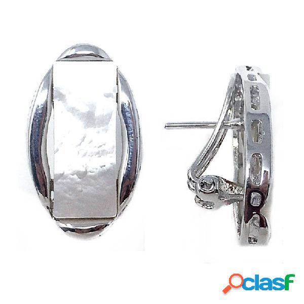 Pendientes metal rodiados ovalados motivo nácar rectangular